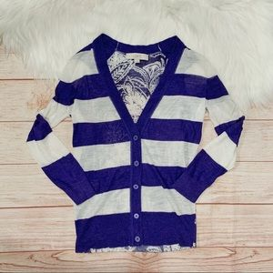 Loft Stripped White and Blue Cardigan